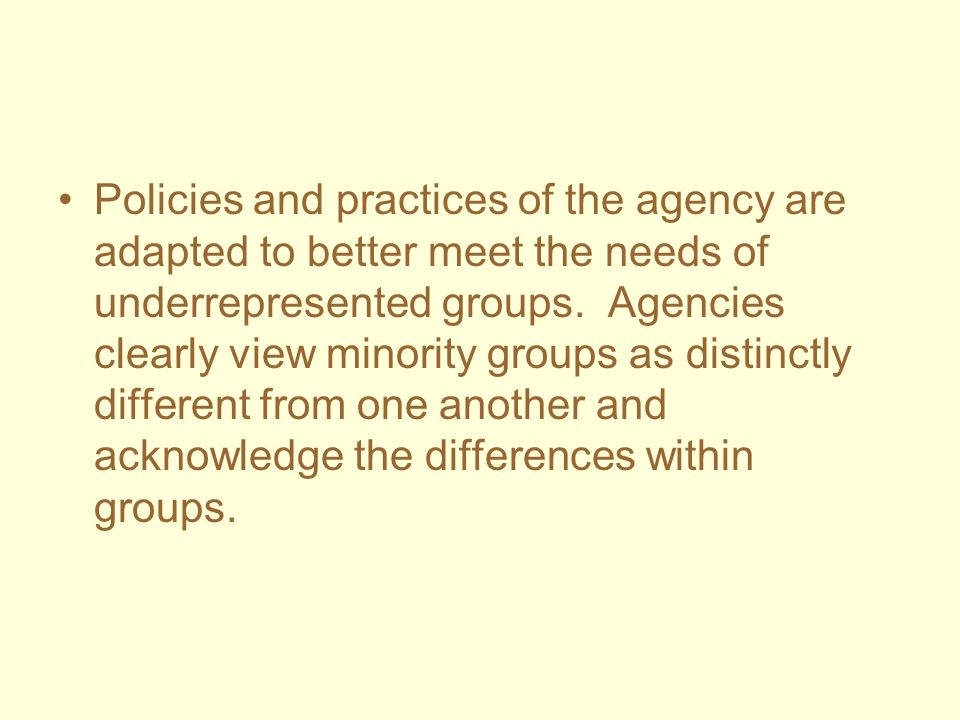 Policies and practices of the agency are adapted to better meet the needs of underrepresented groups.
