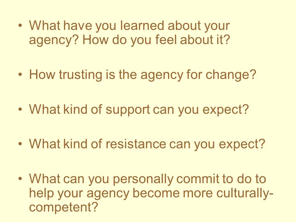 What have you learned about your agency How do you feel about it