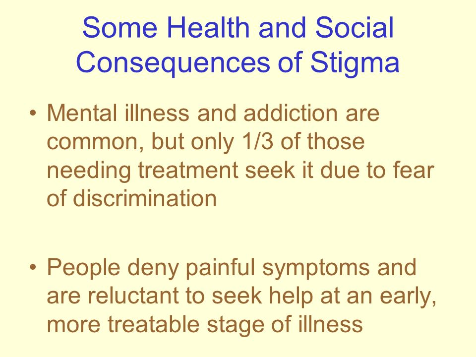 Some Health and Social Consequences of Stigma