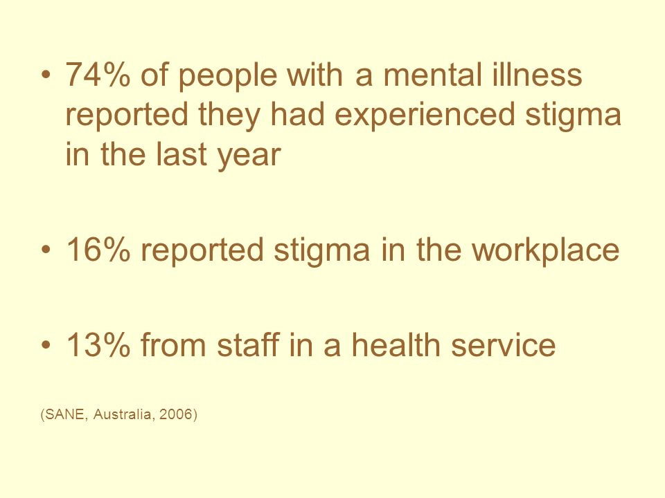 16% reported stigma in the workplace