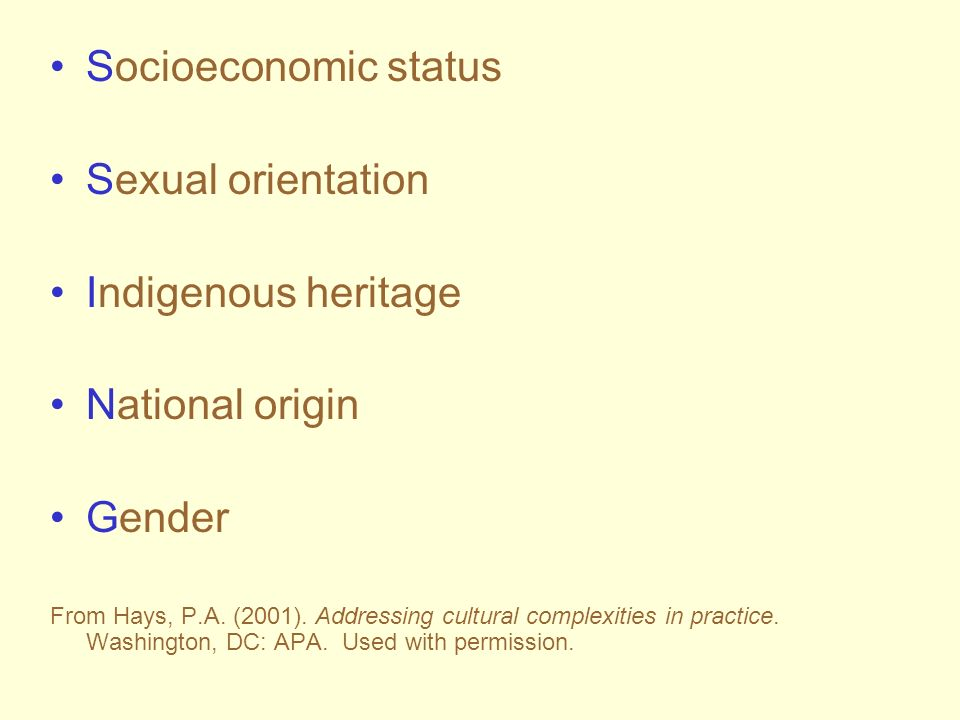 Socioeconomic status Sexual orientation Indigenous heritage