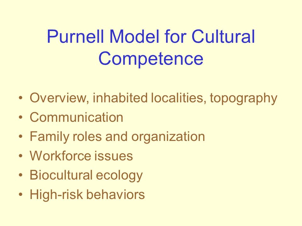 Purnell Model for Cultural Competence