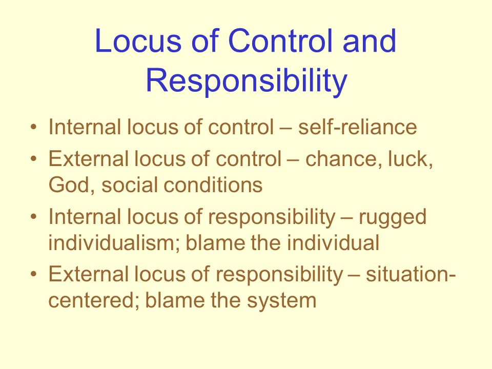 Locus of Control and Responsibility