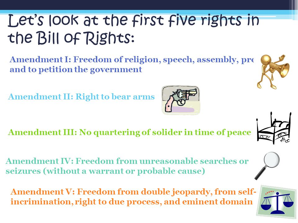 Let's look at the first five rights in the Bill of Rights: