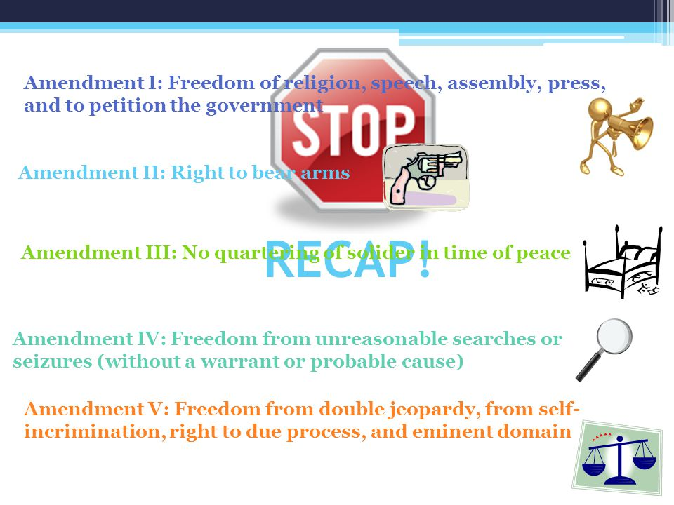 Amendment I: Freedom of religion, speech, assembly, press, and to petition the government