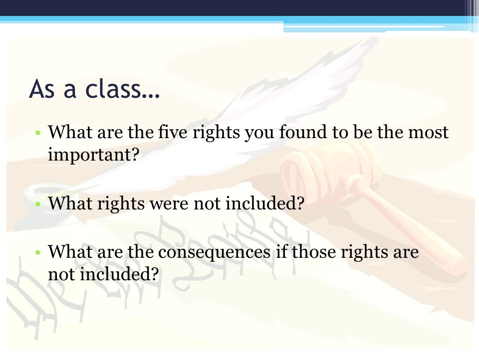 As a class… What are the five rights you found to be the most important What rights were not included