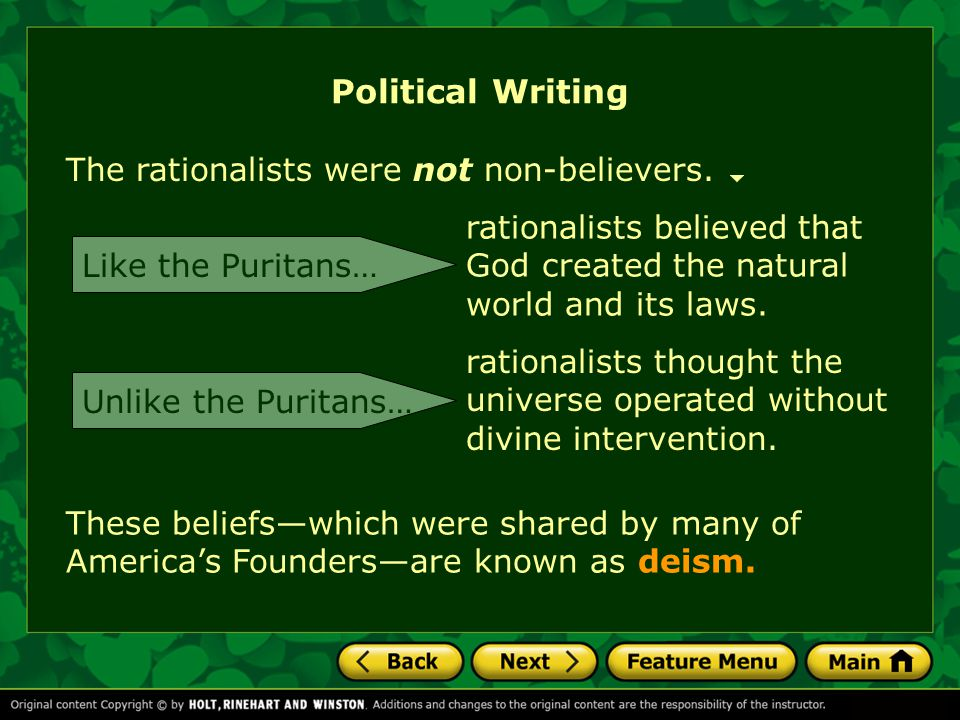 Political Writing The rationalists were not non-believers.