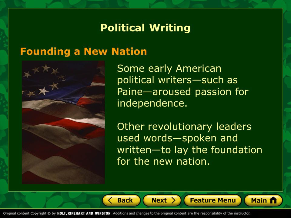 Political Writing Founding a New Nation