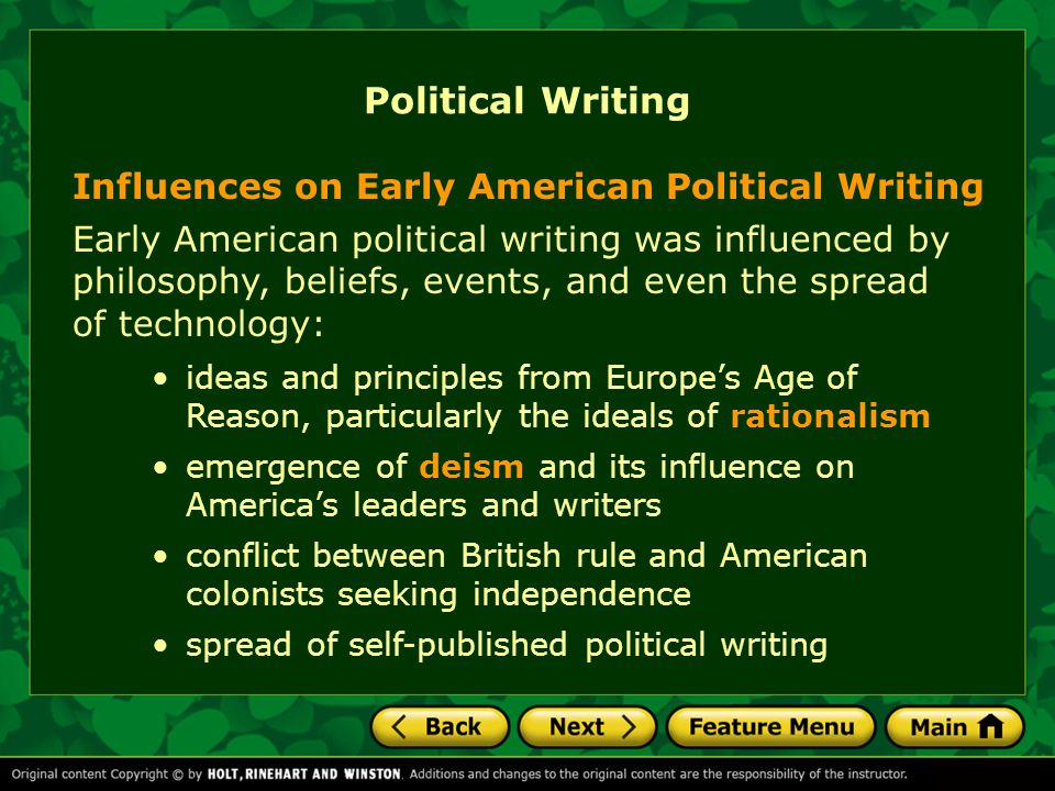 Political Writing Influences on Early American Political Writing