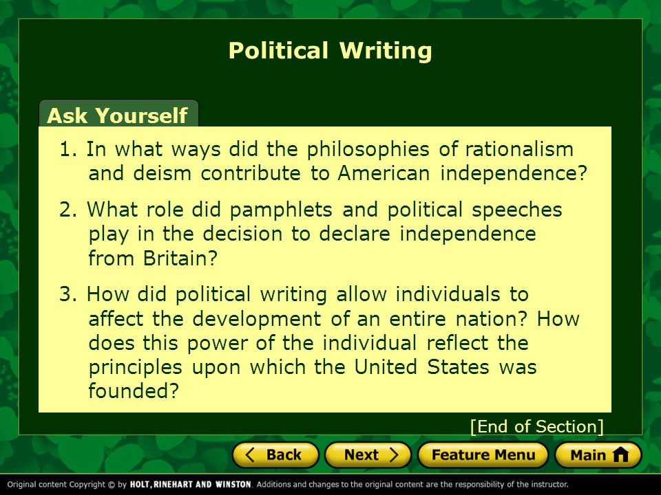 Political Writing Ask Yourself
