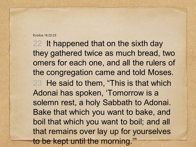 Exodus 16:22-23