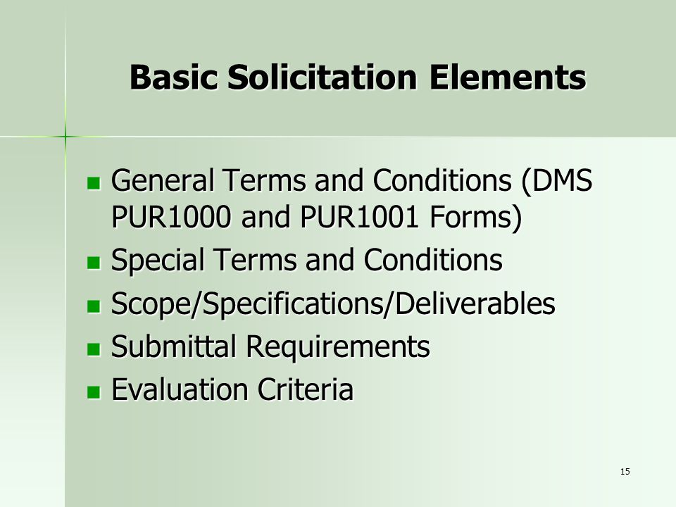 Basic Solicitation Elements