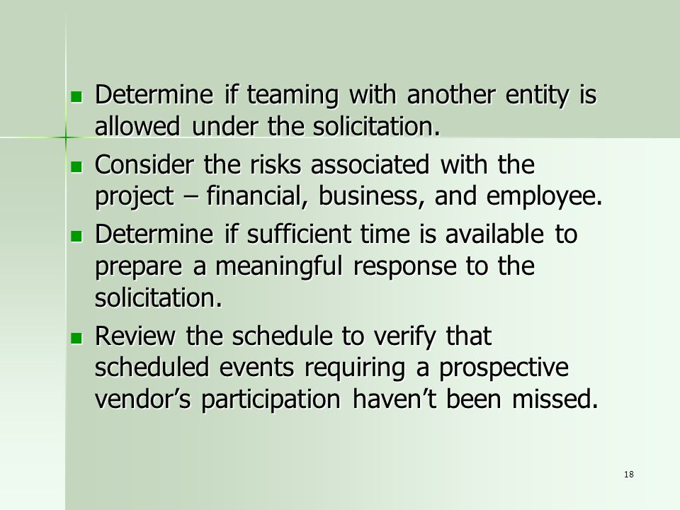 Determine if teaming with another entity is allowed under the solicitation.