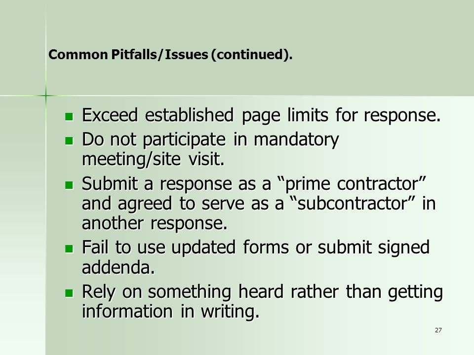 Exceed established page limits for response.