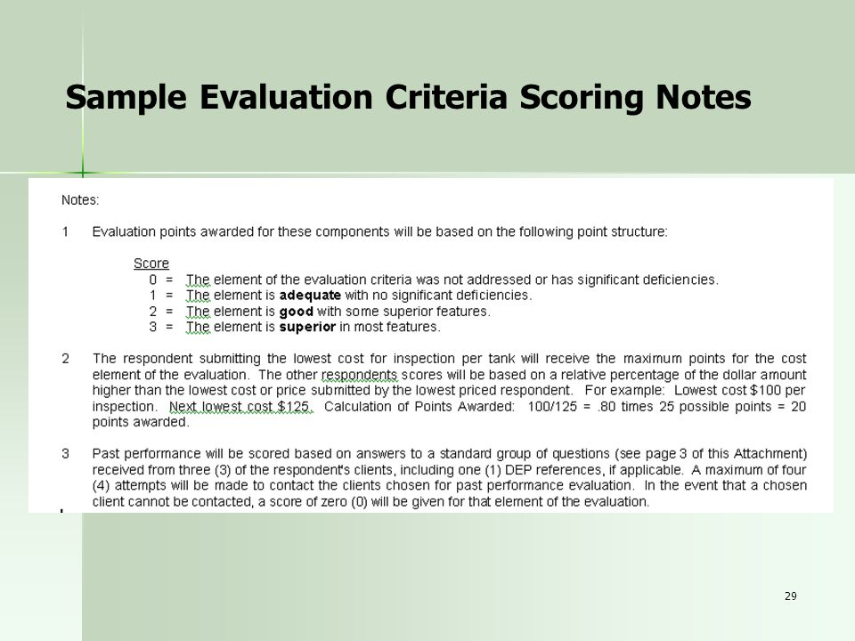 Sample Evaluation Criteria Scoring Notes