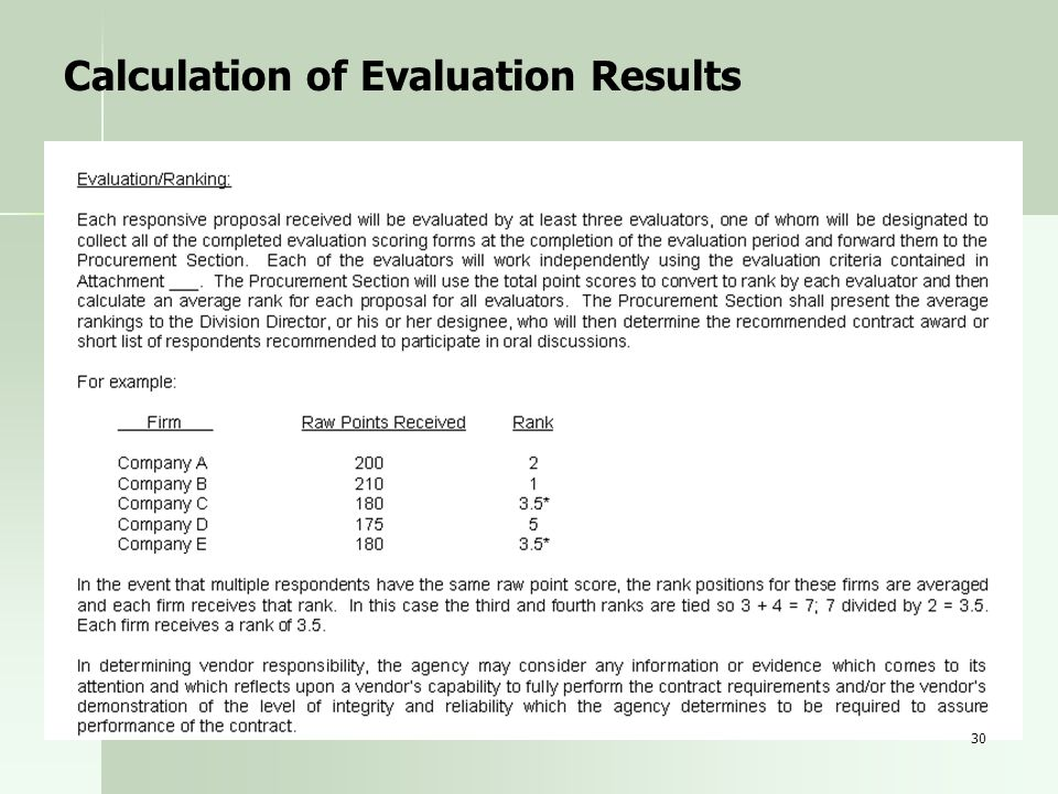 Calculation of Evaluation Results