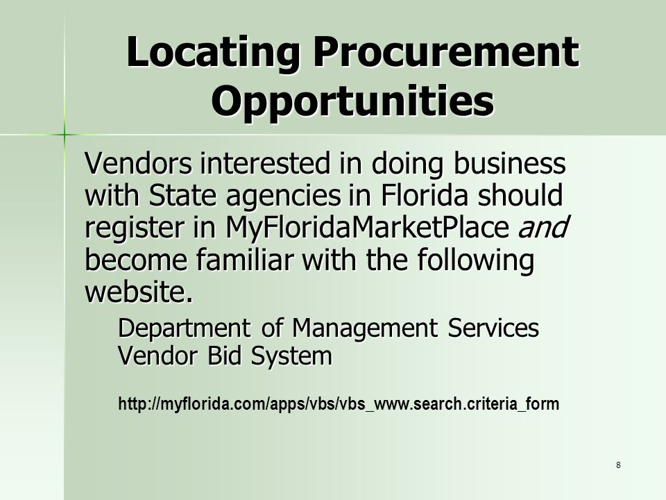 Locating Procurement Opportunities