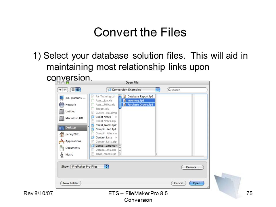 ETS -- FileMaker Pro 8.5 Conversion