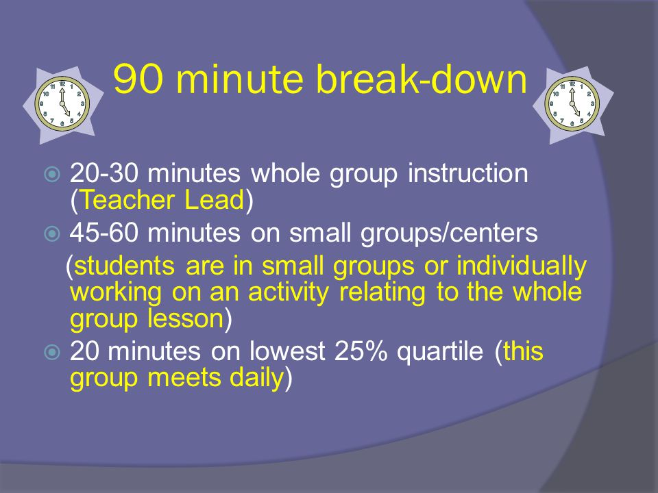 90 minute break-down 20-30 minutes whole group instruction (Teacher Lead) 45-60 minutes on small groups/centers.
