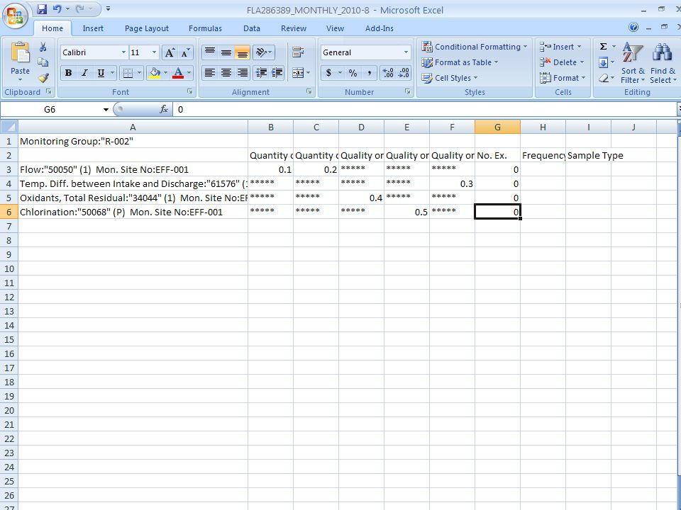 Like the manual data entry form, the Excel spreadsheet has asterisks to prevent data entry in the wrong places.