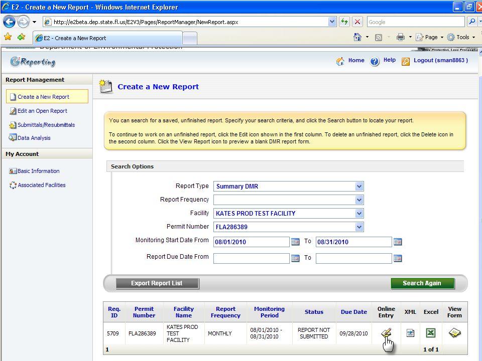 Back on the eDMR system, I click 'Online Entry'
