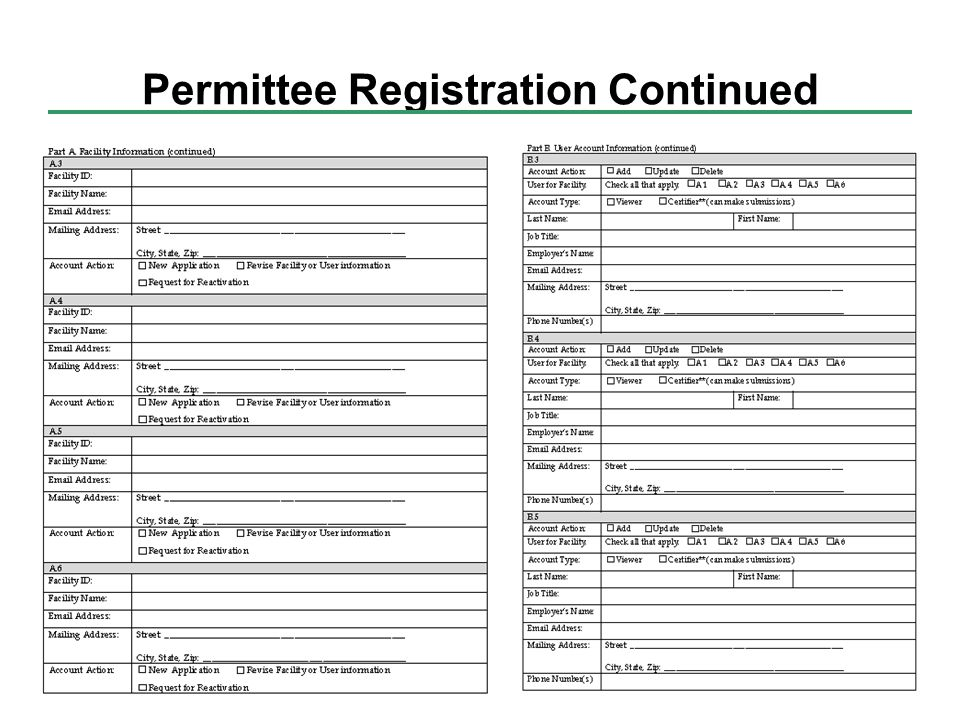 Permittee Registration Continued