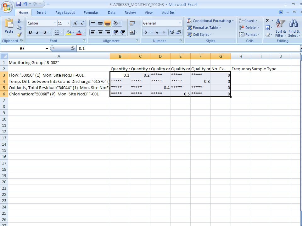 Returning back to the excel sheet
