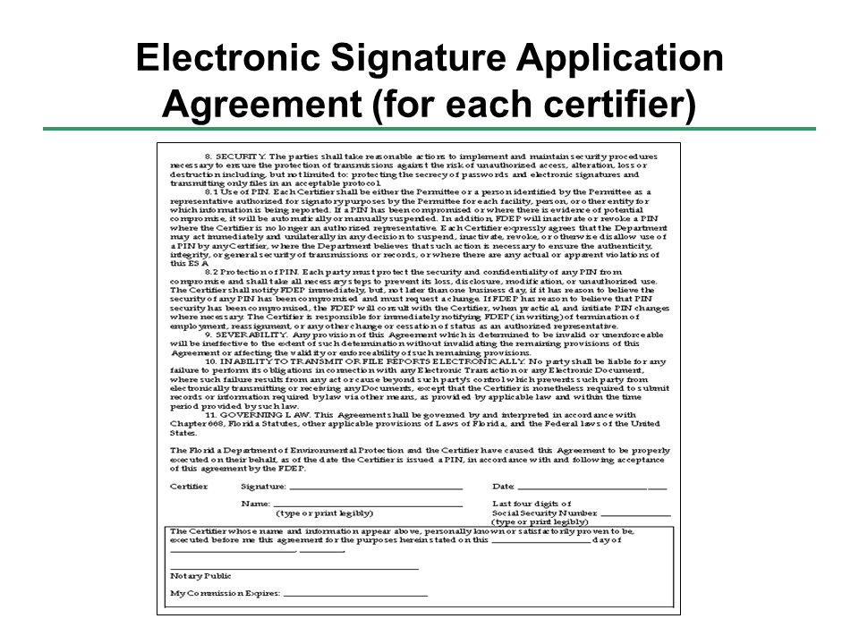 Electronic Signature Application Agreement (for each certifier)