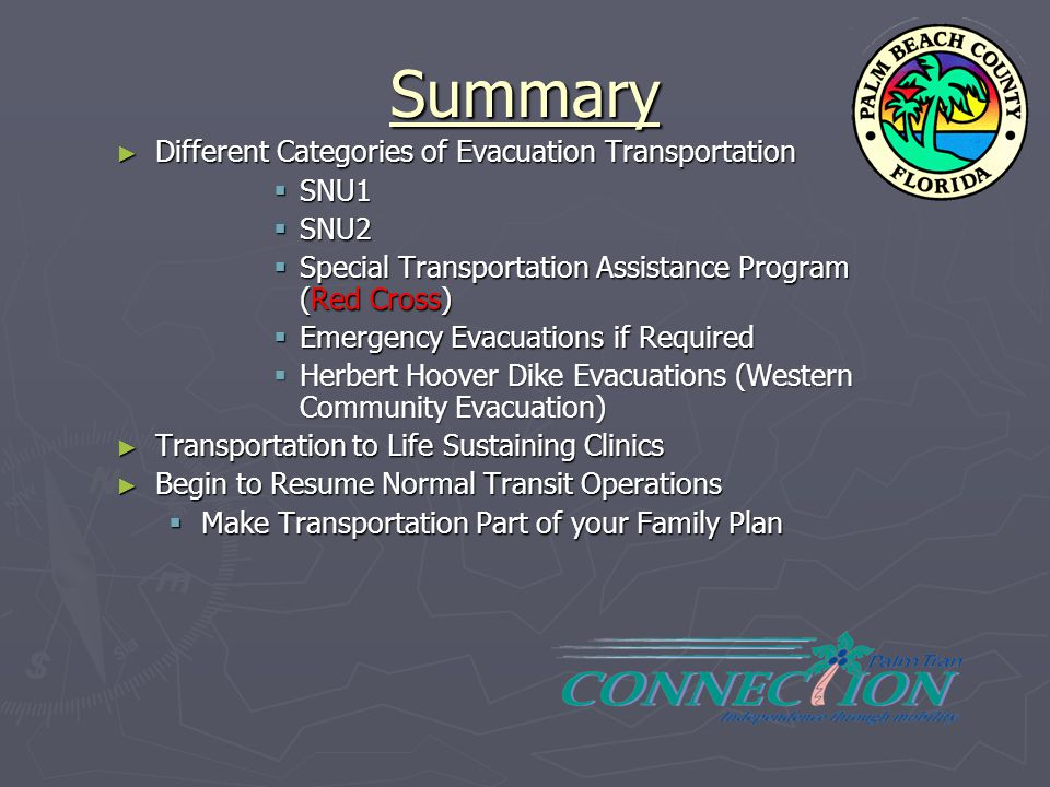 Summary Different Categories of Evacuation Transportation SNU1 SNU2
