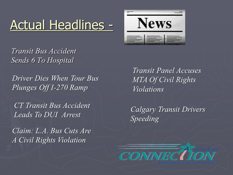 Actual Headlines - Transit Bus Accident Sends 6 To Hospital