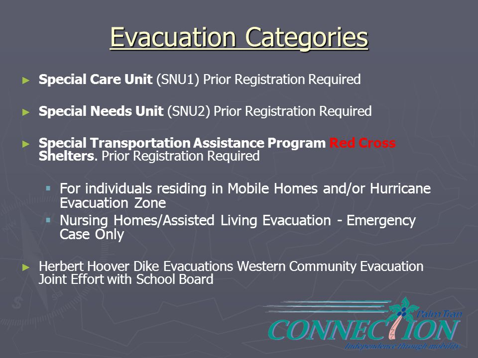 Evacuation Categories