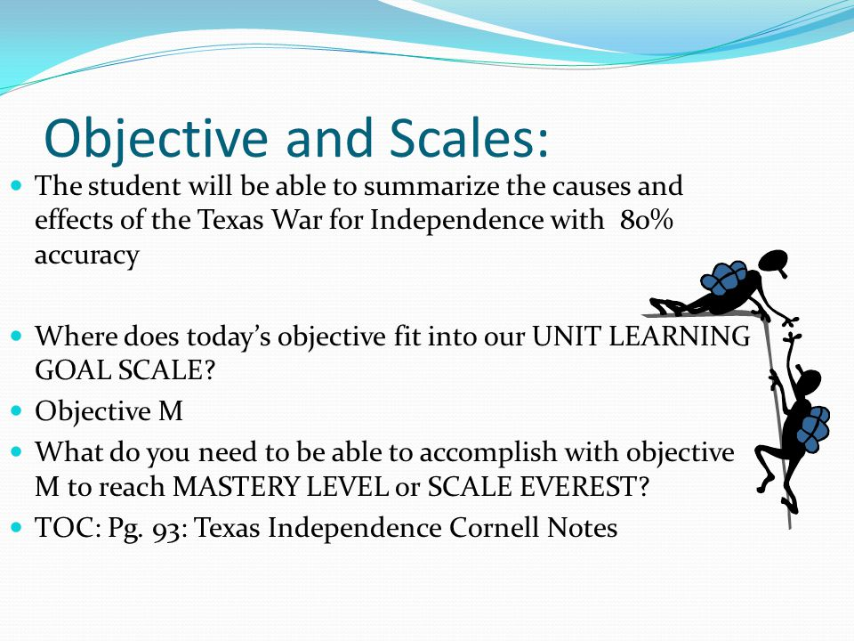 Objective and Scales: The student will be able to summarize the causes and effects of the Texas War for Independence with 80% accuracy.
