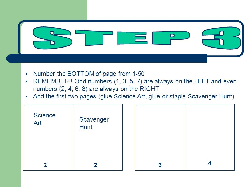 STEP 3 Number the BOTTOM of page from 1-50