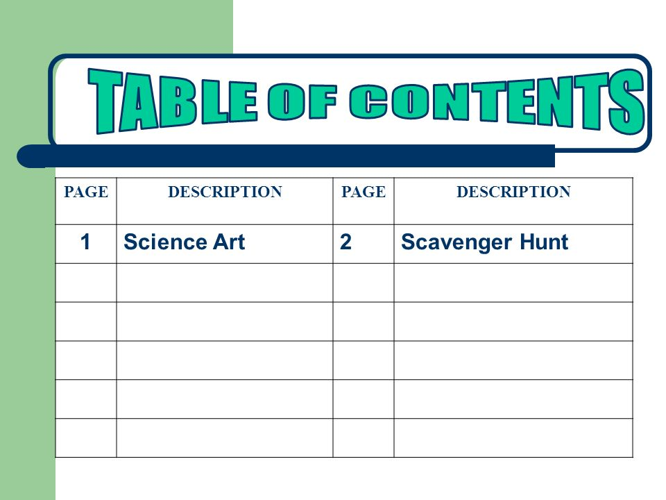 TABLE OF CONTENTS PAGE DESCRIPTION 1 Science Art 2 Scavenger Hunt
