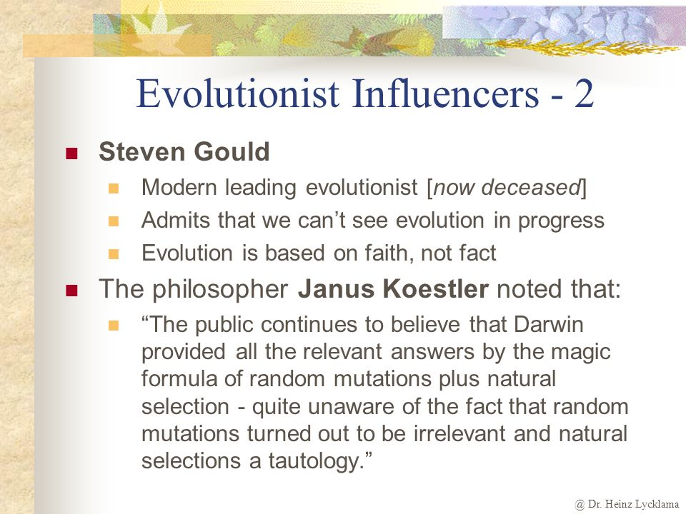Evolutionist Influencers - 2