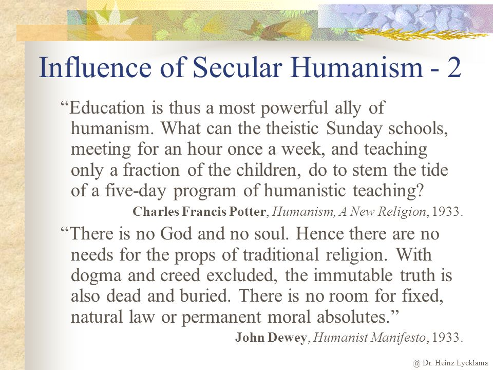 Influence of Secular Humanism - 2