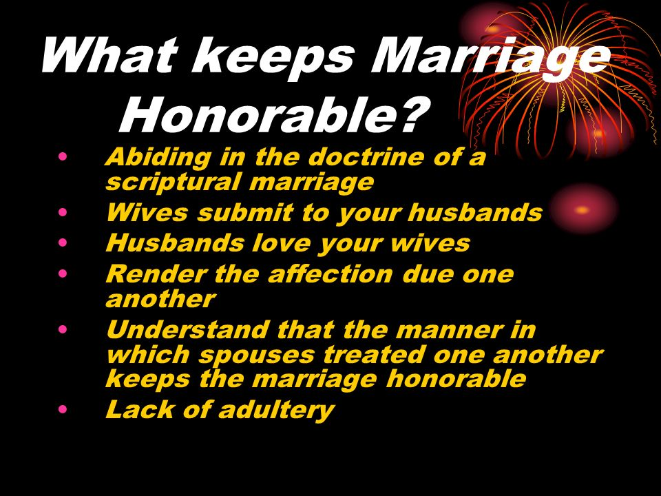 What keeps Marriage Honorable