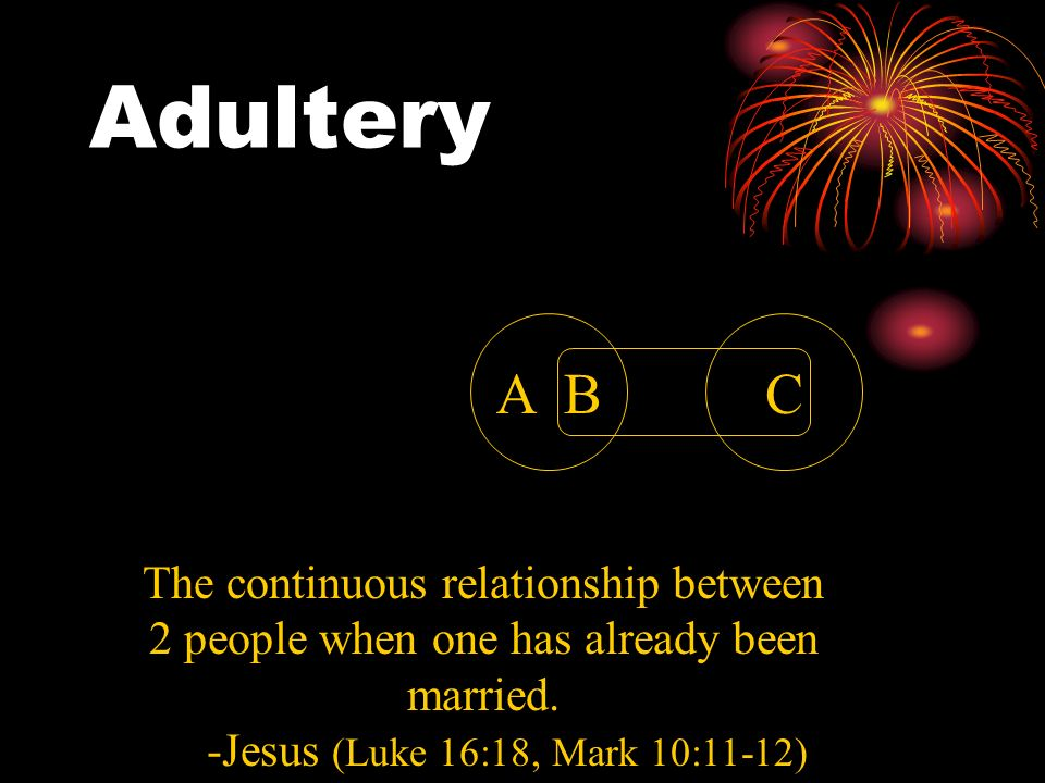 AdulteryA B.C. The continuous relationship between 2 people when one has already been married.