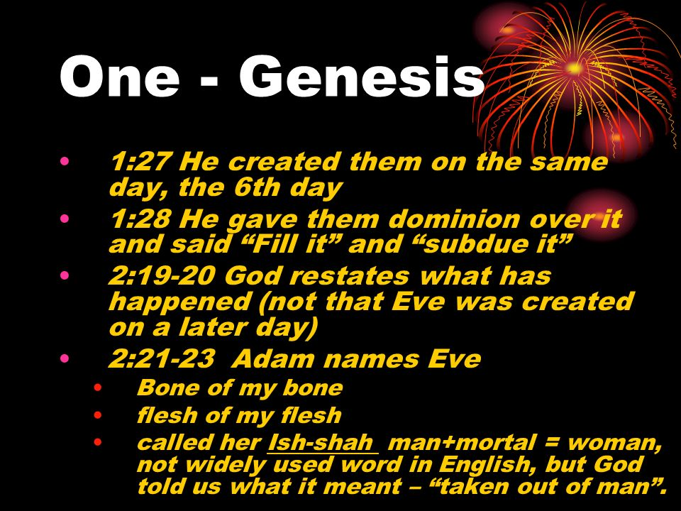 One - Genesis 1:27 He created them on the same day, the 6th day