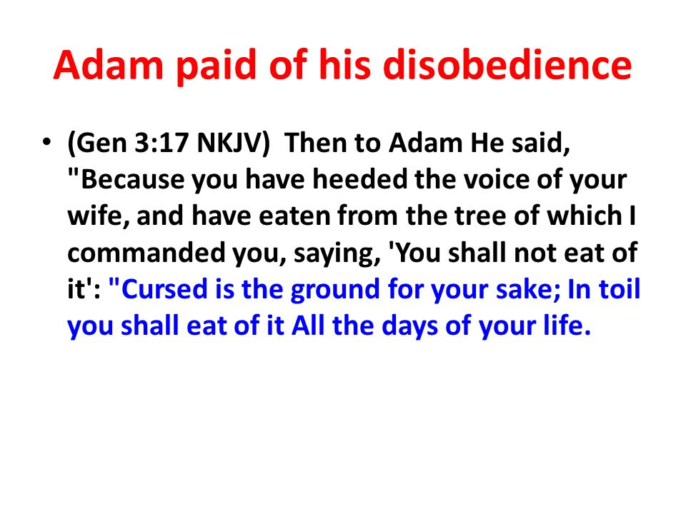 Adam paid of his disobedience