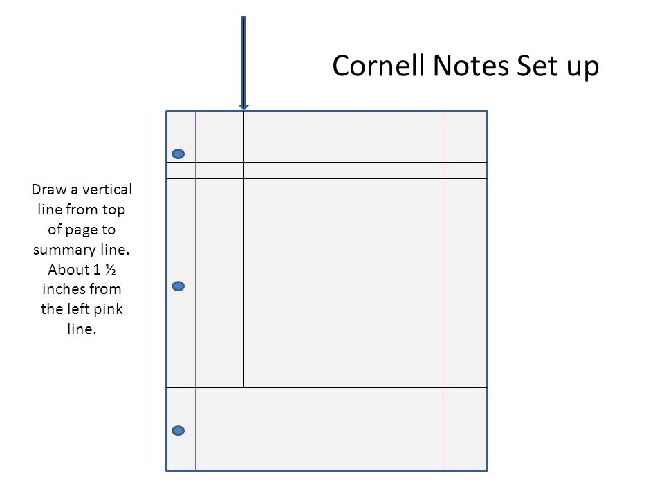 Cornell Notes Set up Draw a vertical line from top of page to summary line.