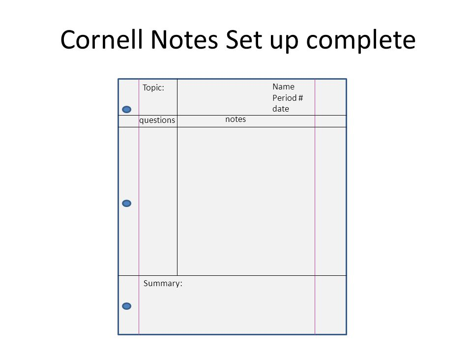 Cornell Notes Set up complete