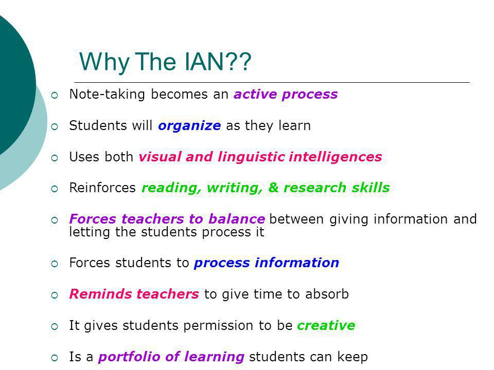 Why The IAN Note-taking becomes an active process