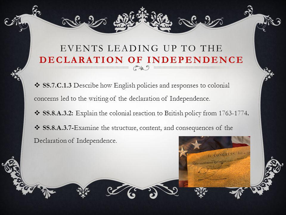 Events Leading Up to the Declaration of Independence