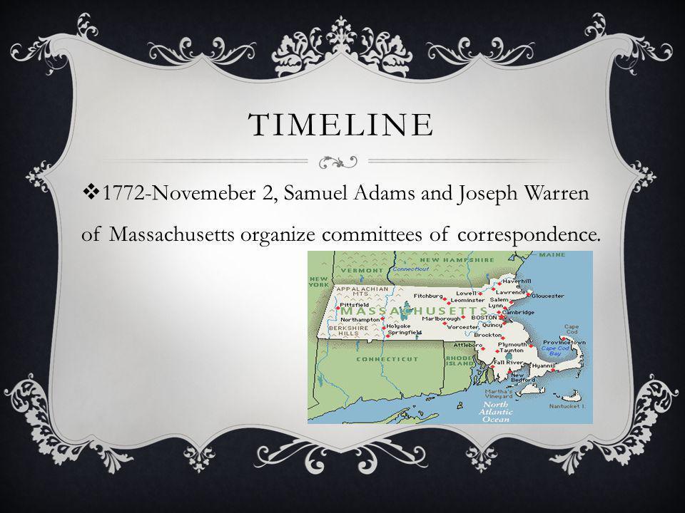 Timeline 1772-Novemeber 2, Samuel Adams and Joseph Warren of Massachusetts organize committees of correspondence.