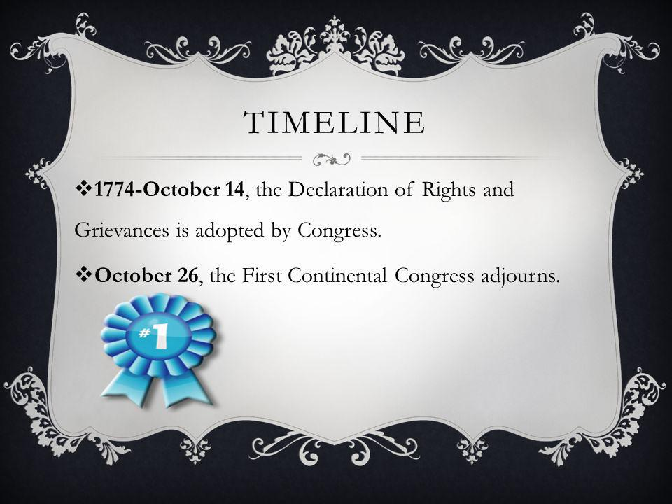 Timeline 1774-October 14, the Declaration of Rights and Grievances is adopted by Congress.