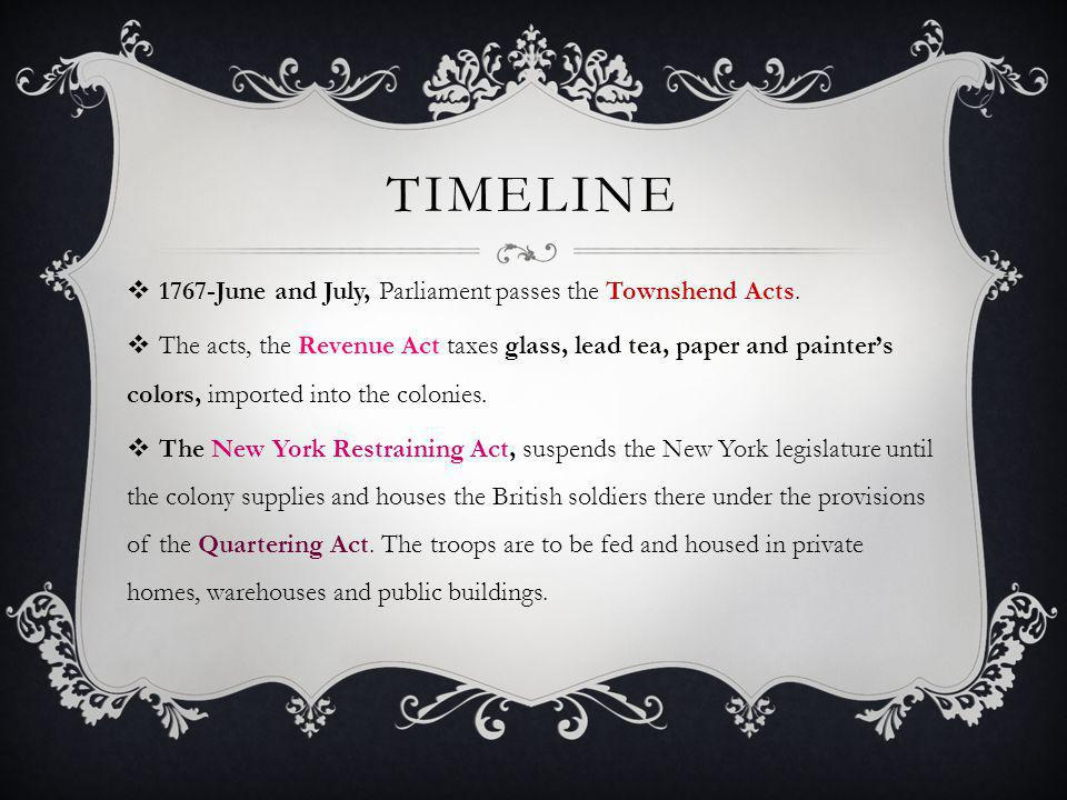 Timeline 1767-June and July, Parliament passes the Townshend Acts.