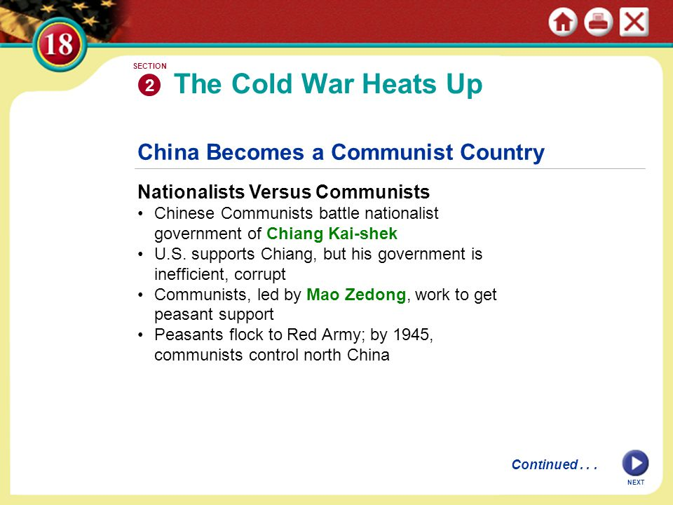 The Cold War Heats Up China Becomes a Communist Country