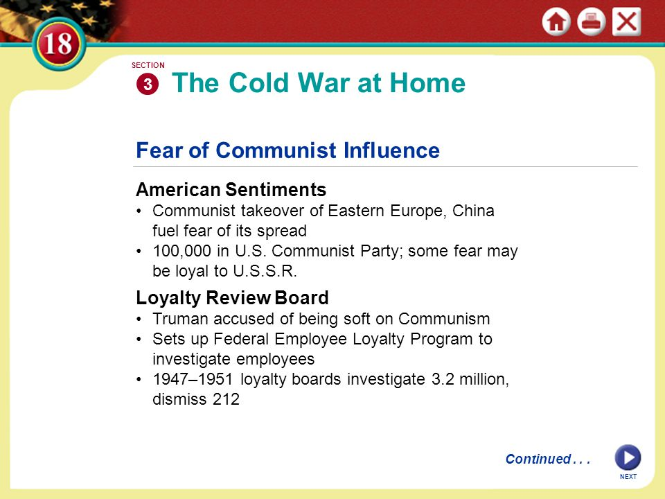 The Cold War at Home Fear of Communist Influence American Sentiments