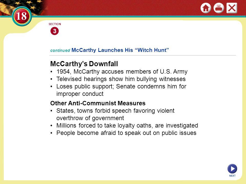 McCarthy's Downfall 3 1954, McCarthy accuses members of U.S. Army